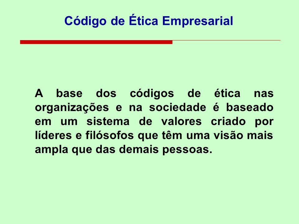 A base dos códigos de ética nas organizações e na sociedade é baseado em um sistema de valores criado por líderes e filósofos que têm uma visão mais ampla que das demais pessoas.