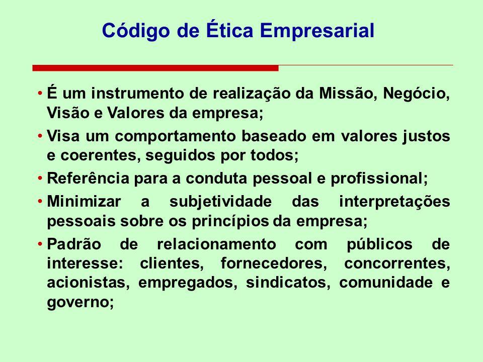 É um instrumento de realização da Missão, Negócio, Visão e Valores da empresa; Visa um comportamento baseado em valores justos e coerentes, seguidos p