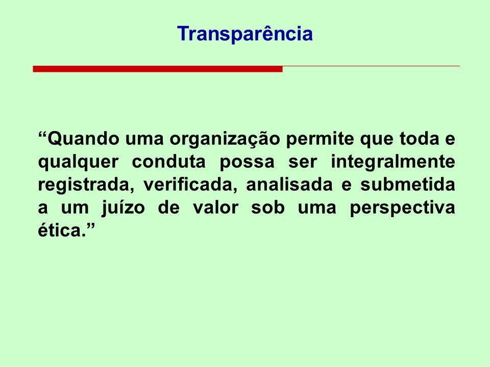 Transparência Quando uma organização permite que toda e qualquer conduta possa ser integralmente registrada, verificada, analisada e submetida a um ju