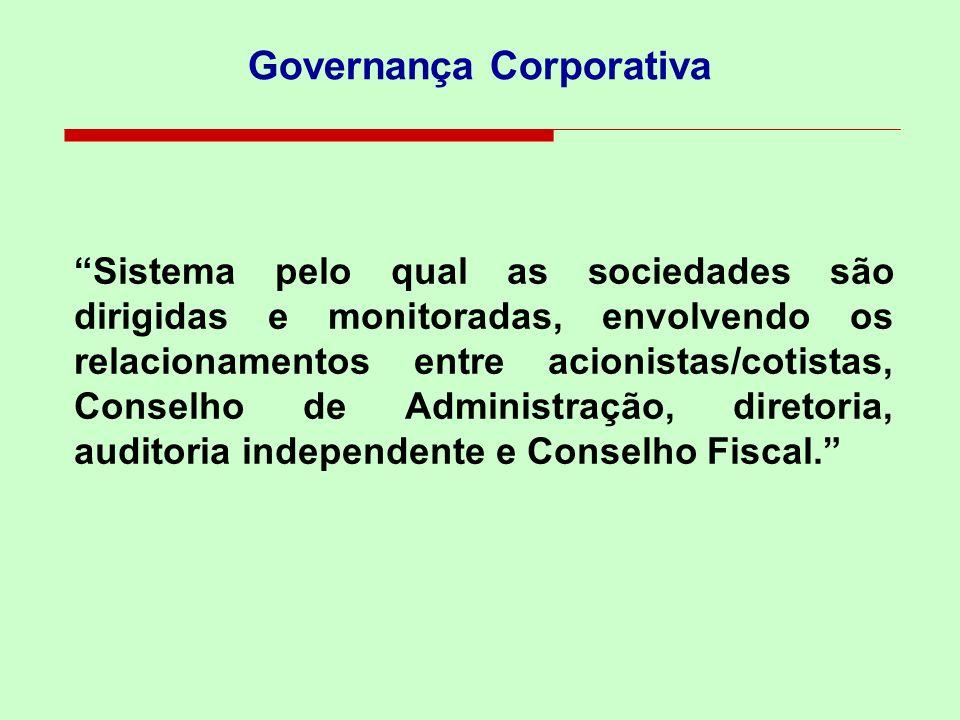 Governança Corporativa Sistema pelo qual as sociedades são dirigidas e monitoradas, envolvendo os relacionamentos entre acionistas/cotistas, Conselho