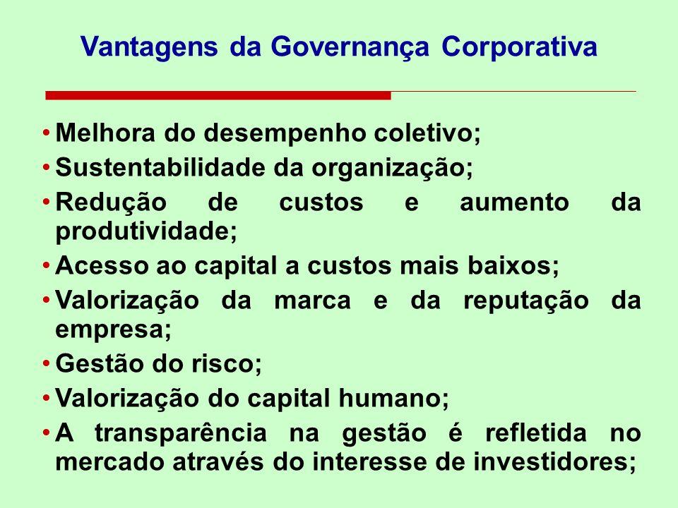 Vantagens da Governança Corporativa Melhora do desempenho coletivo; Sustentabilidade da organização; Redução de custos e aumento da produtividade; Ace