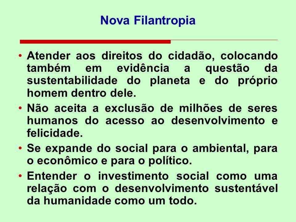 Nova Filantropia Atender aos direitos do cidadão, colocando também em evidência a questão da sustentabilidade do planeta e do próprio homem dentro del