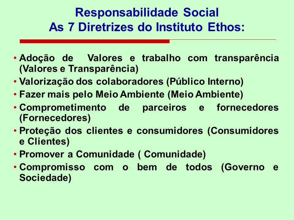 Adoção de Valores e trabalho com transparência (Valores e Transparência) Valorização dos colaboradores (Público Interno) Fazer mais pelo Meio Ambiente