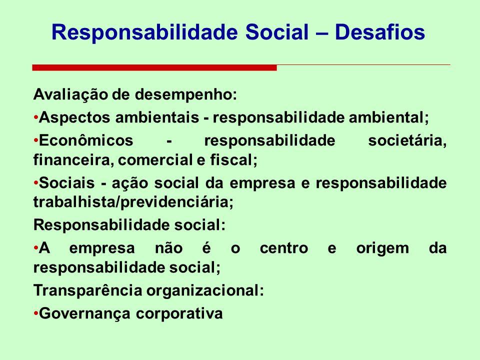 Responsabilidade Social – Desafios Avaliação de desempenho: Aspectos ambientais - responsabilidade ambiental; Econômicos - responsabilidade societária