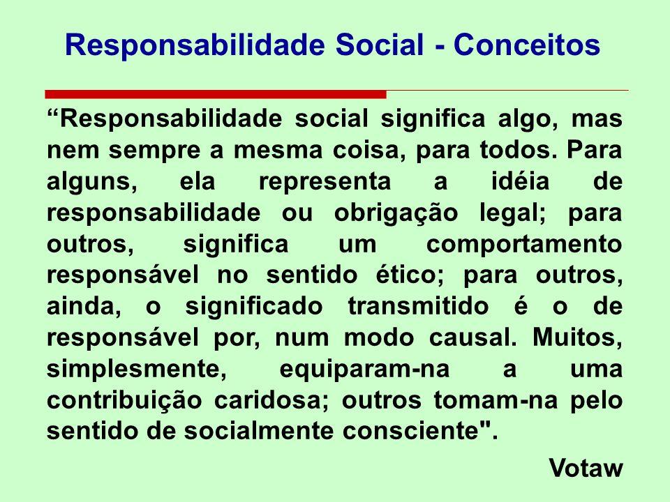 Responsabilidade Social - Conceitos Responsabilidade social pode ser também o compromisso que a empresa tem com o desenvolvimento, bem-estar e melhoramento da qualidade de vida dos empregados, suas famílias e comunidade em geral .