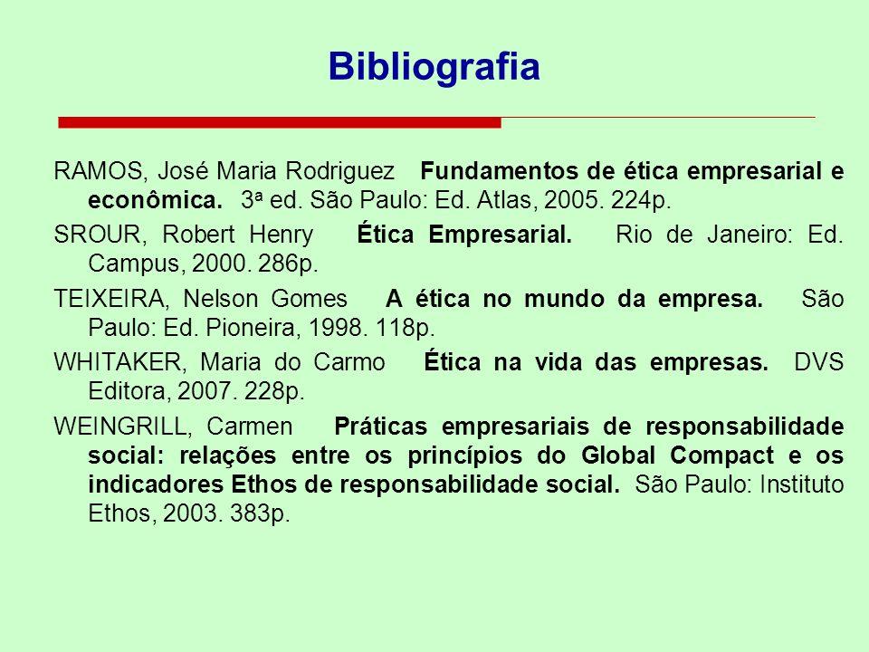 Bibliografia RAMOS, José Maria Rodriguez Fundamentos de ética empresarial e econômica. 3 a ed. São Paulo: Ed. Atlas, 2005. 224p. SROUR, Robert Henry É