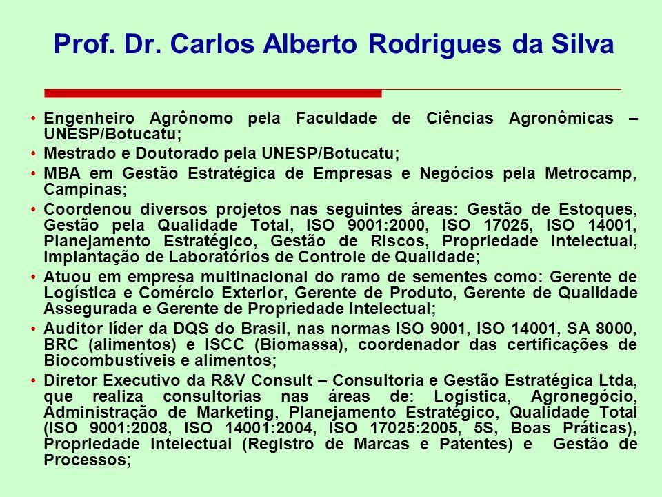 Prof. Dr. Carlos Alberto Rodrigues da Silva Engenheiro Agrônomo pela Faculdade de Ciências Agronômicas – UNESP/Botucatu; Mestrado e Doutorado pela UNE