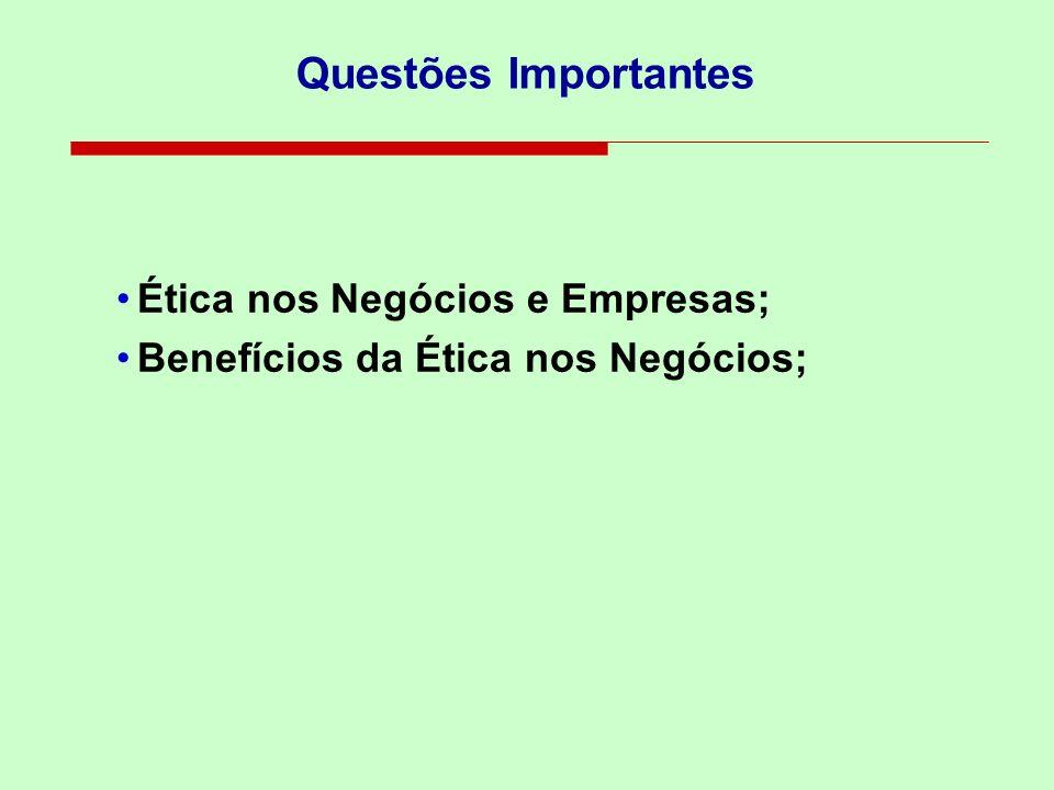 Questões Importantes Ética nos Negócios e Empresas; Benefícios da Ética nos Negócios;