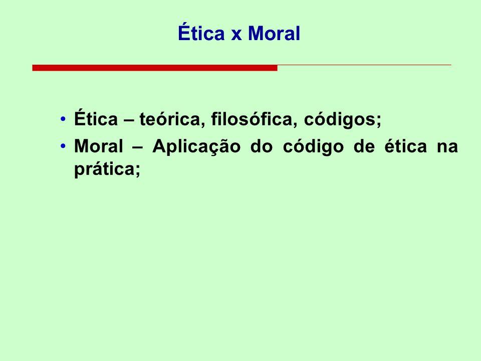 Ética x Moral Ética – teórica, filosófica, códigos; Moral – Aplicação do código de ética na prática;