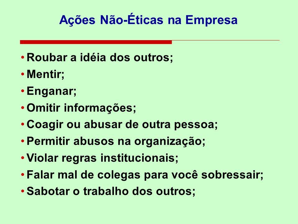 Ações Não-Éticas na Empresa Roubar a idéia dos outros; Mentir; Enganar; Omitir informações; Coagir ou abusar de outra pessoa; Permitir abusos na organ