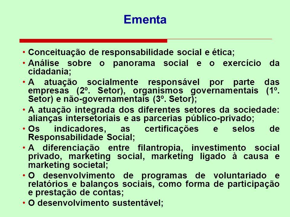Ementa Conceituação de responsabilidade social e ética; Análise sobre o panorama social e o exercício da cidadania; A atuação socialmente responsável