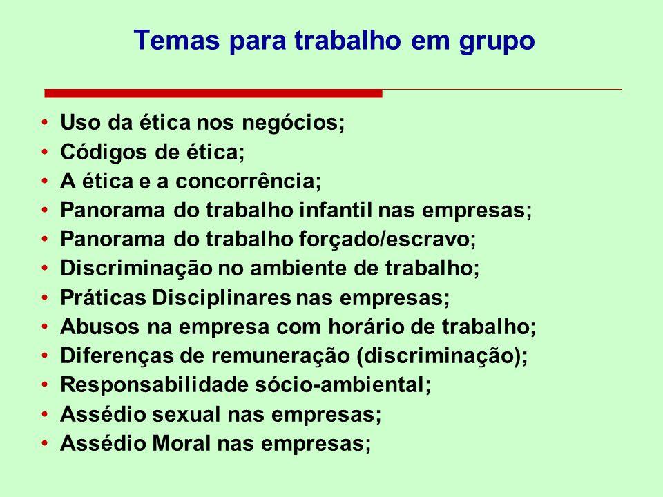 Temas para trabalho em grupo Uso da ética nos negócios; Códigos de ética; A ética e a concorrência; Panorama do trabalho infantil nas empresas; Panora