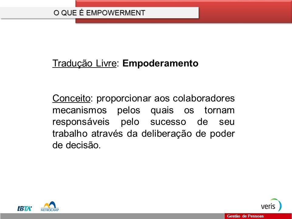 Gestão de Pessoas CONCLUSÃO Responsabilidade não pode ser transferida, mas sim delegada!