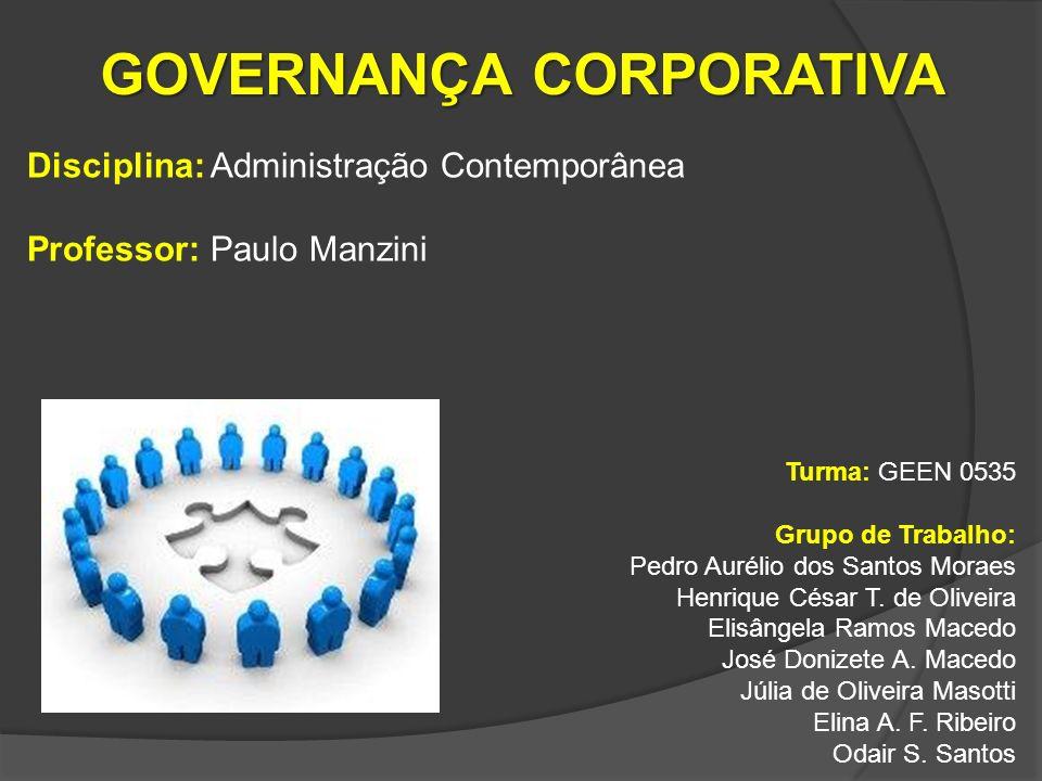 DEFINIÇÃO Sistema pelo qual as empresas são dirigidas e controladas especificando a distribuição de direitos e responsabilidades entre o Conselho Administrativo, Alta Gerência e Acionistas.