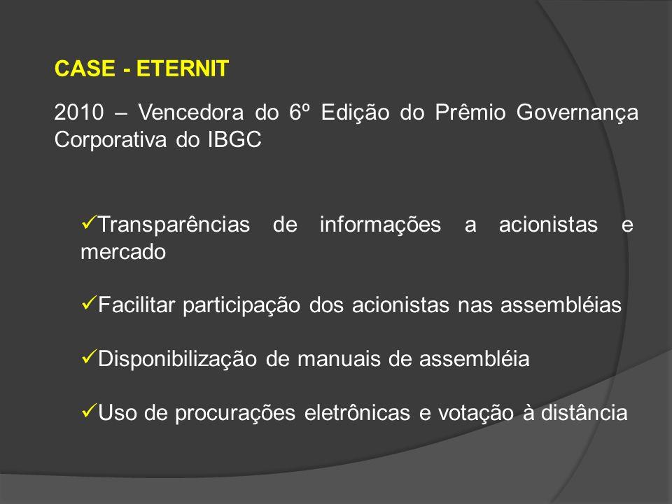 ETERNIT – MODELO DE GOVERNANÇA CORPORATIVA Baseada nas melhores práticas do mercado Atuar de maneira responsável e sustentável Respeito integral à legislação societária brasileira Cumpre todos os requisitos do MERCADO NOVO da BM&F BOVESPA