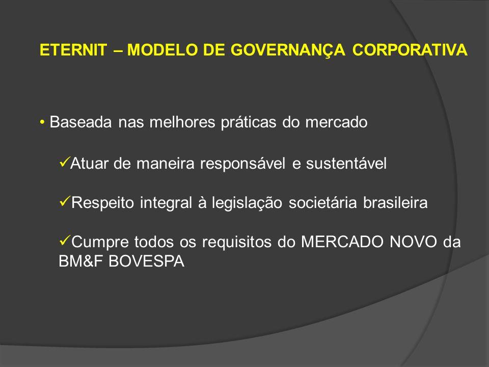 ETERNIT – ESTRUTURA Conselho de Administração e seus comitês Diretoria Auditoria interna Auditoria externa (substituída a cada 5 anos – requisito CVM)