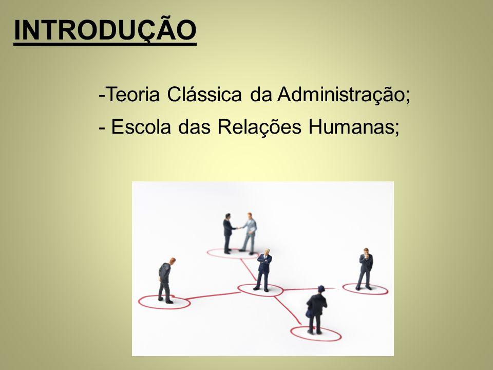INTRODUÇÃO -Teoria Clássica da Administração; - Escola das Relações Humanas;