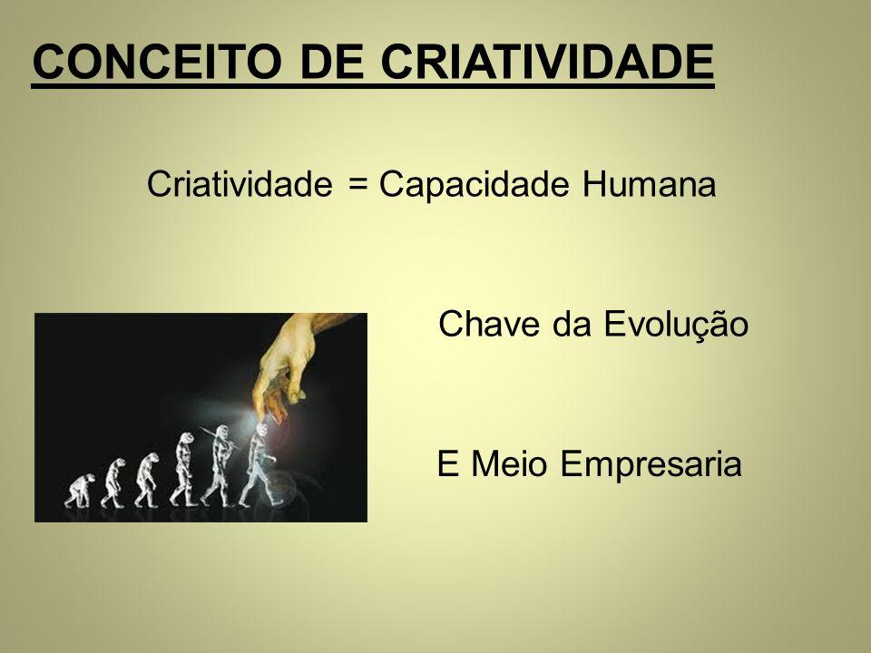CONCEITO DE CRIATIVIDADE Criatividade = Capacidade Humana Chave da Evolução E Meio Empresaria