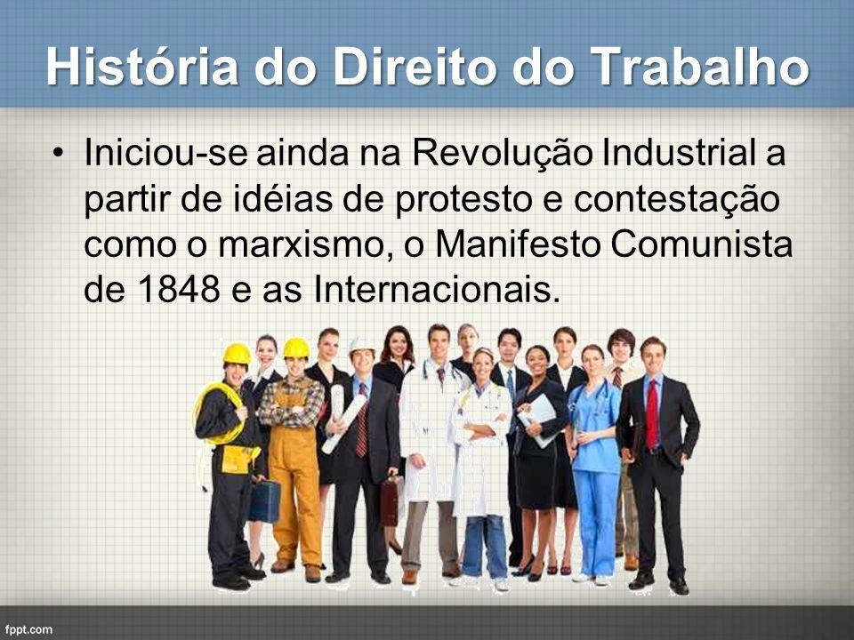 História do Direito do Trabalho Iniciou-se ainda na Revolução Industrial a partir de idéias de protesto e contestação como o marxismo, o Manifesto Com