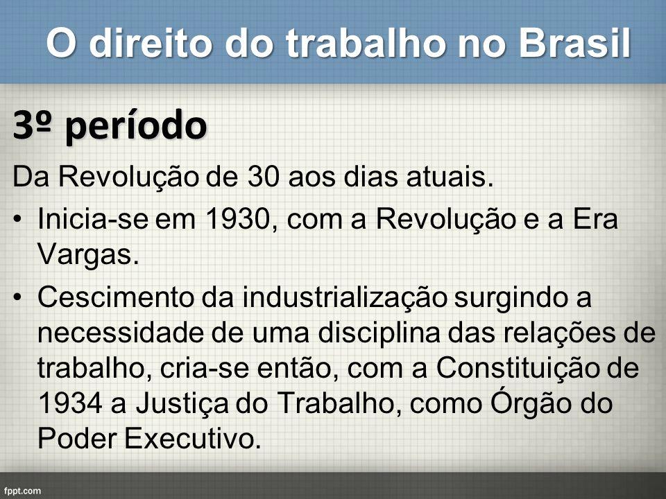 O direito do trabalho no Brasil 3º período Da Revolução de 30 aos dias atuais. Inicia-se em 1930, com a Revolução e a Era Vargas. Cescimento da indust