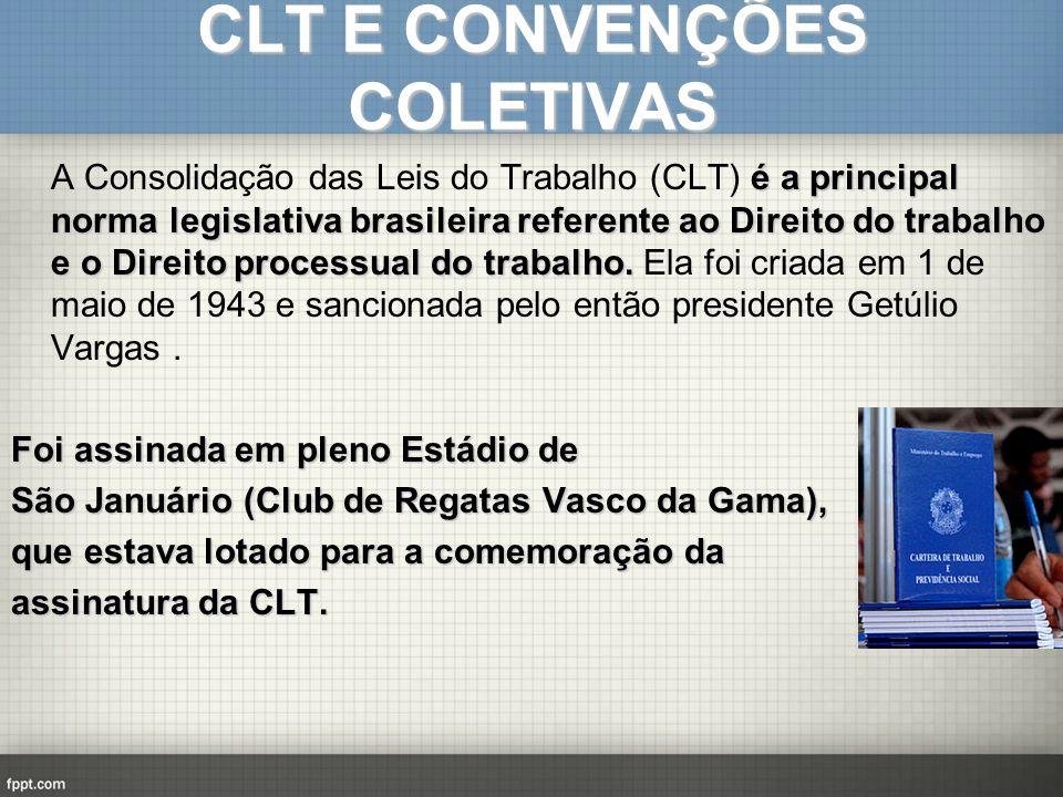 CLT E CONVENÇÕES COLETIVAS é a principal norma legislativa brasileira referente ao Direito do trabalho e o Direito processual do trabalho. A Consolida
