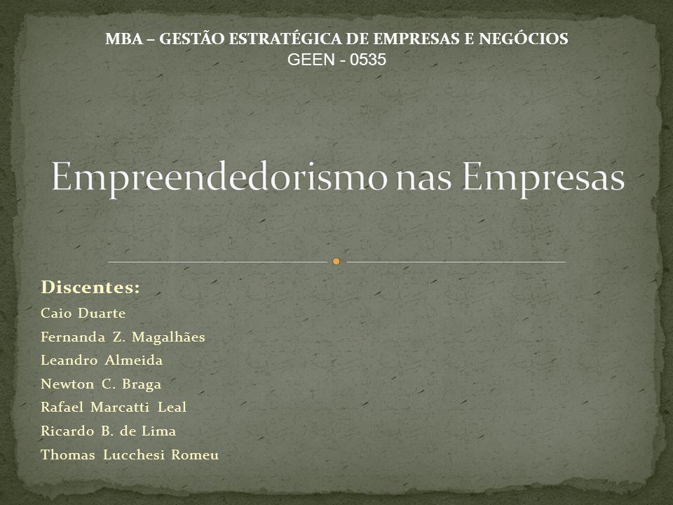Discentes: Caio Duarte Fernanda Z. Magalhães Leandro Almeida Newton C. Braga Rafael Marcatti Leal Ricardo B. de Lima Thomas Lucchesi Romeu MBA – GESTÃ