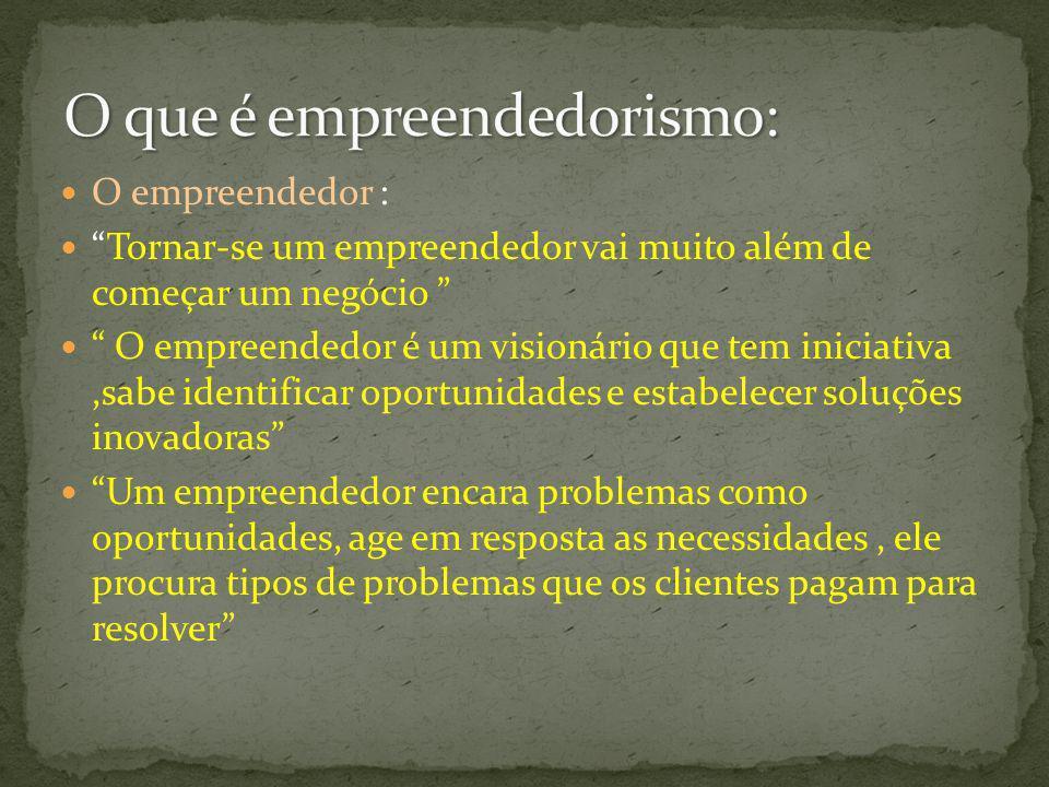 O empreendedor : Tornar-se um empreendedor vai muito além de começar um negócio O empreendedor é um visionário que tem iniciativa,sabe identificar opo