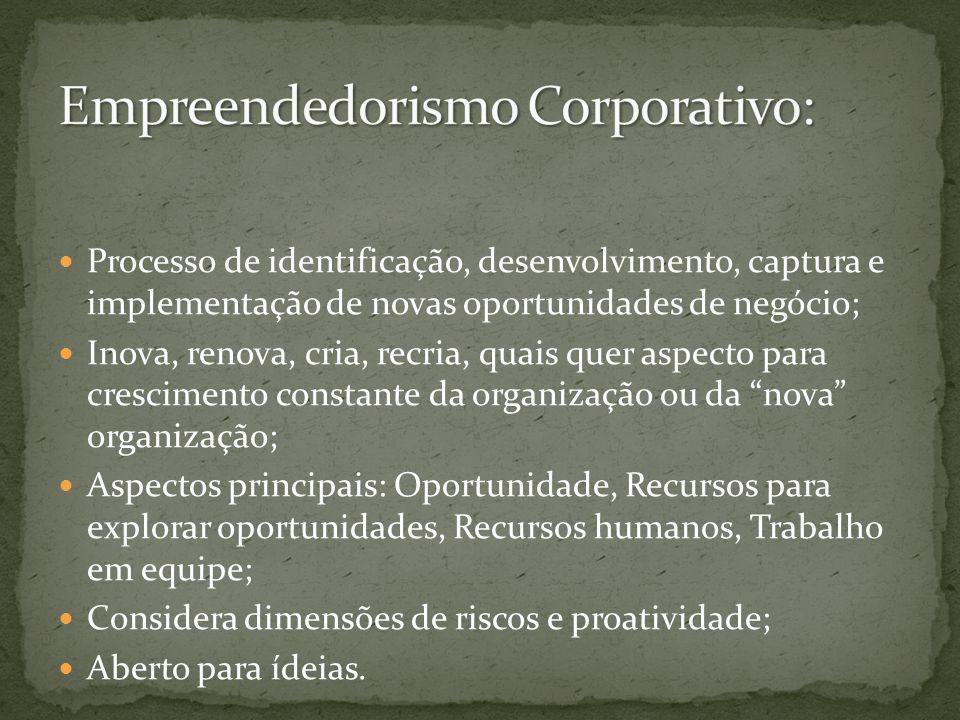 Processo de identificação, desenvolvimento, captura e implementação de novas oportunidades de negócio; Inova, renova, cria, recria, quais quer aspecto