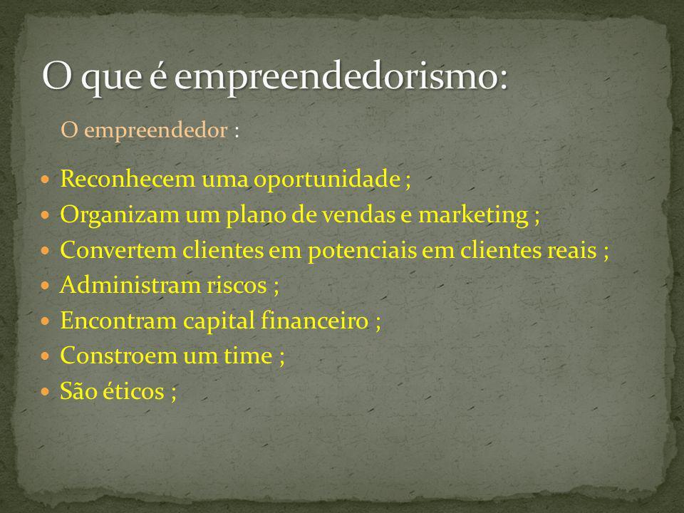 Reconhecem uma oportunidade ; Organizam um plano de vendas e marketing ; Convertem clientes em potenciais em clientes reais ; Administram riscos ; Enc
