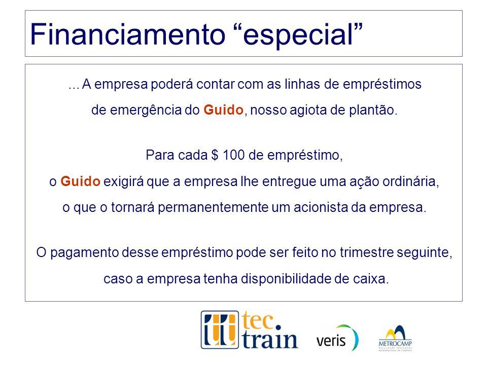 Financiamento especial... A empresa poderá contar com as linhas de empréstimos de emergência do Guido, nosso agiota de plantão. Para cada $ 100 de emp