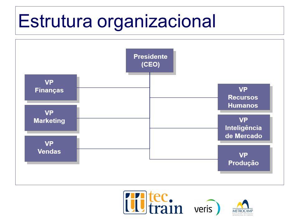 Estrutura organizacional Presidente (CEO) VP Finanças VP Marketing VP Vendas VP Recursos Humanos VP Inteligência de Mercado VP Produção