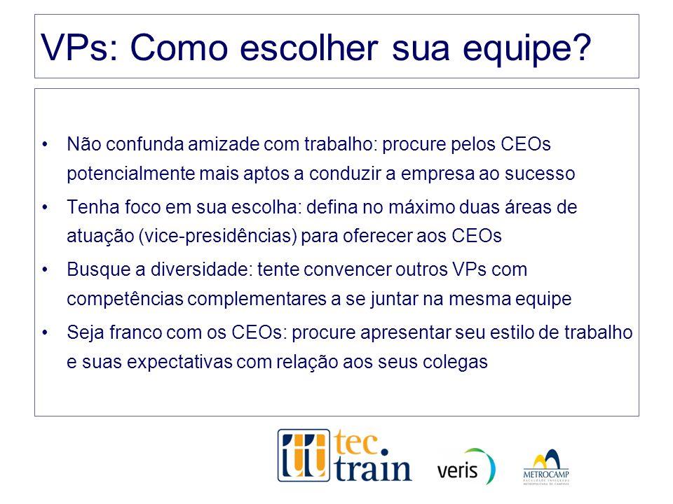 VPs: Como escolher sua equipe? Não confunda amizade com trabalho: procure pelos CEOs potencialmente mais aptos a conduzir a empresa ao sucesso Tenha f