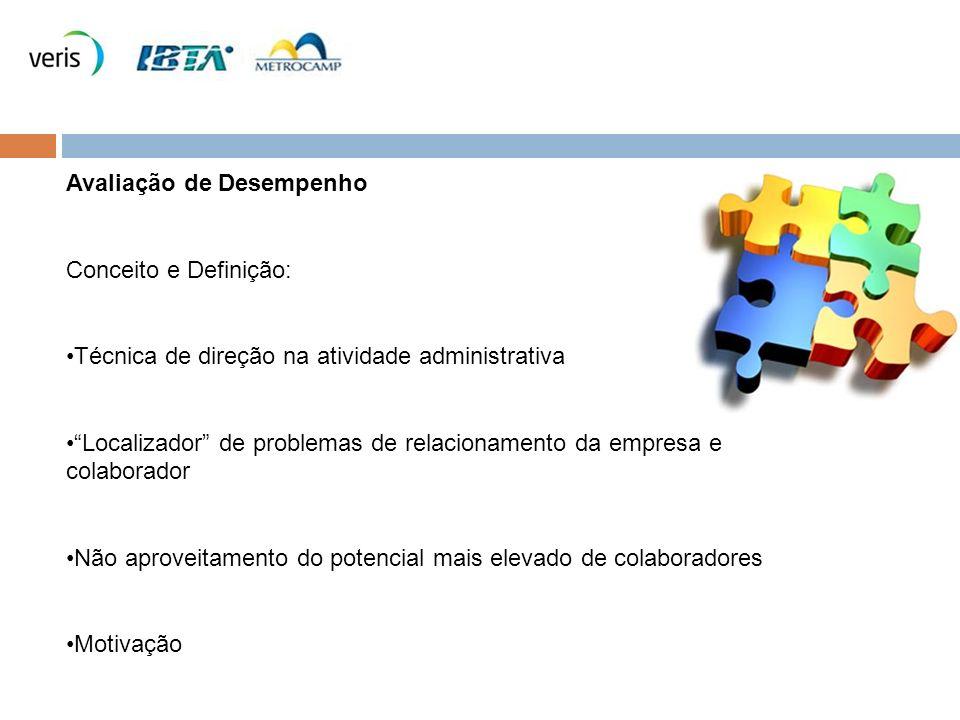 Avaliação de Desempenho Conceito e Definição: Técnica de direção na atividade administrativa Localizador de problemas de relacionamento da empresa e c
