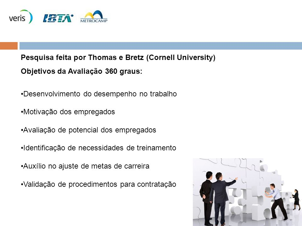 Pesquisa feita por Thomas e Bretz (Cornell University) Objetivos da Avaliação 360 graus: Desenvolvimento do desempenho no trabalho Motivação dos empregados Avaliação de potencial dos empregados Identificação de necessidades de treinamento Auxílio no ajuste de metas de carreira Validação de procedimentos para contratação