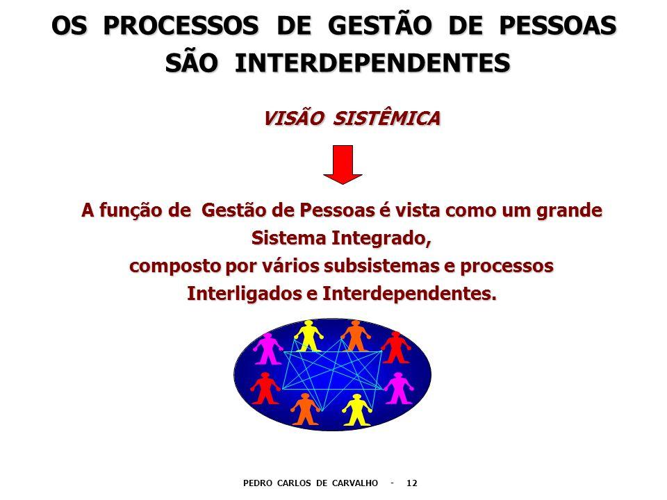 A função de Gestão de Pessoas é vista como um grande Sistema Integrado, composto por vários subsistemas e processos Interligados e Interdependentes. O