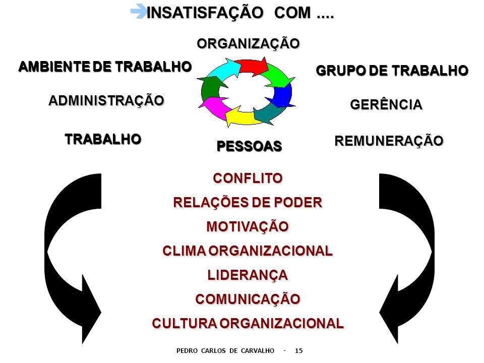 è INSATISFAÇÃO COM.... AMBIENTE DE TRABALHO REMUNERAÇÃO GERÊNCIA ADMINISTRAÇÃO GRUPO DE TRABALHO TRABALHO CONFLITO RELAÇÕES DE PODER MOTIVAÇÃO CLIMA O