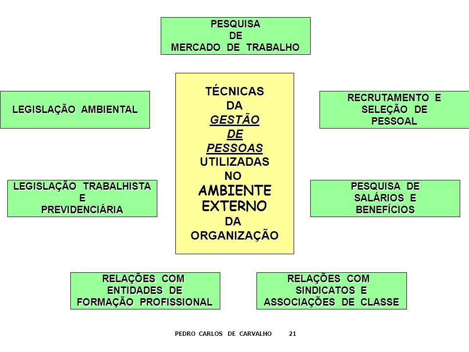 LEGISLAÇÃO AMBIENTAL PESQUISADE MERCADO DE TRABALHO RECRUTAMENTO E SELEÇÃO DE PESSOAL LEGISLAÇÃO TRABALHISTA EPREVIDENCIÁRIA RELAÇÕES COM ENTIDADES DE