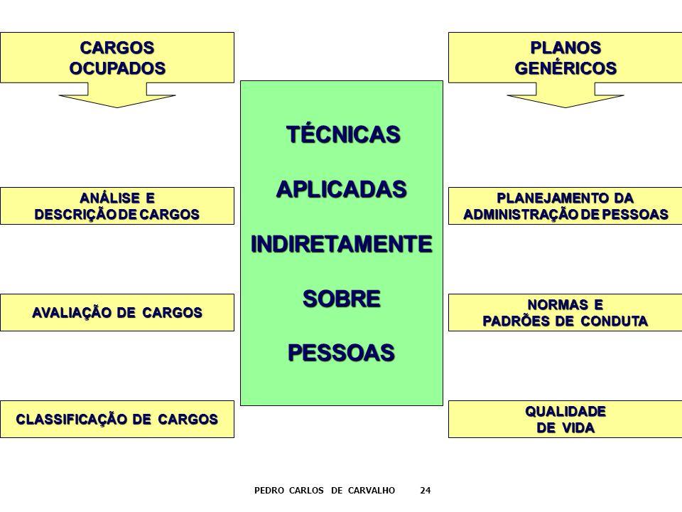 TÉCNICAS TÉCNICASAPLICADASINDIRETAMENTESOBREPESSOAS CARGOSOCUPADOS ANÁLISE E DESCRIÇÃO DE CARGOS AVALIAÇÃO DE CARGOS CLASSIFICAÇÃO DE CARGOS PLANOSGEN