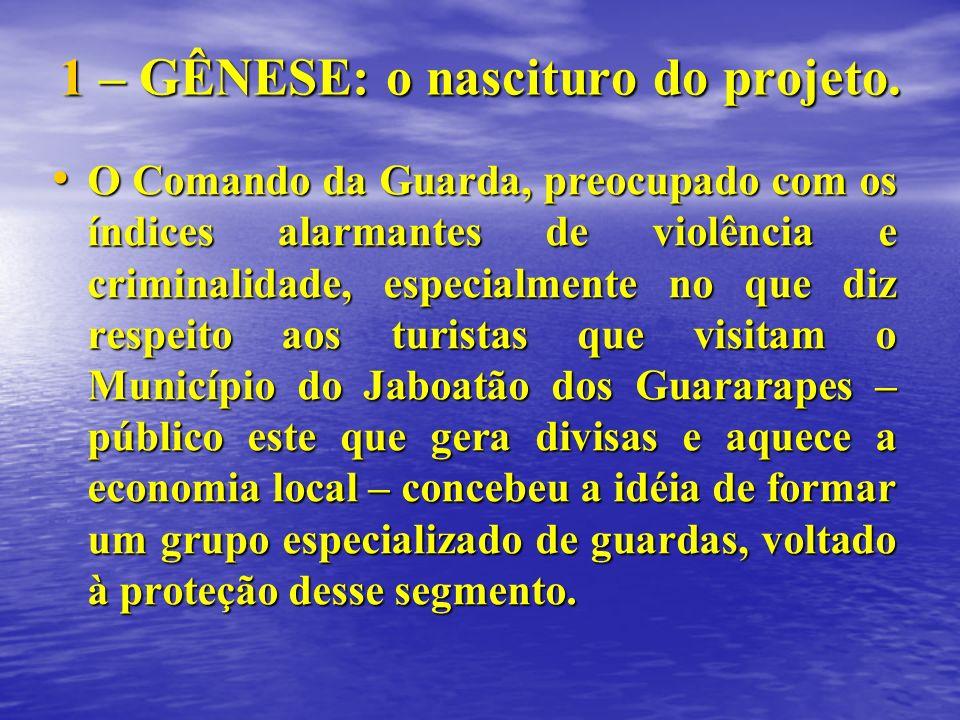 1 – GÊNESE: o nascituro do projeto. O Comando da Guarda, preocupado com os índices alarmantes de violência e criminalidade, especialmente no que diz r