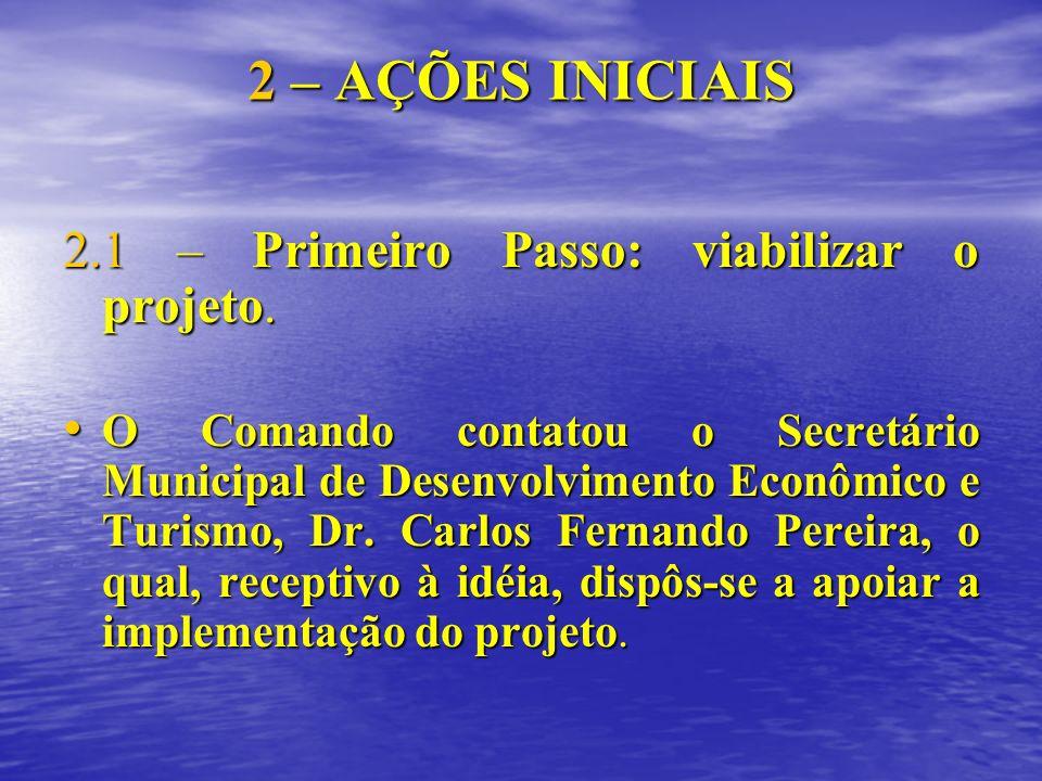 2 – AÇÕES INICIAIS 2.1 – Primeiro Passo: viabilizar o projeto. O Comando contatou o Secretário Municipal de Desenvolvimento Econômico e Turismo, Dr. C
