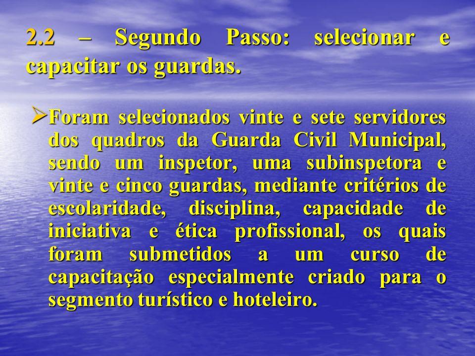 2.2 – Segundo Passo: selecionar e capacitar os guardas. Foram selecionados vinte e sete servidores dos quadros da Guarda Civil Municipal, sendo um ins