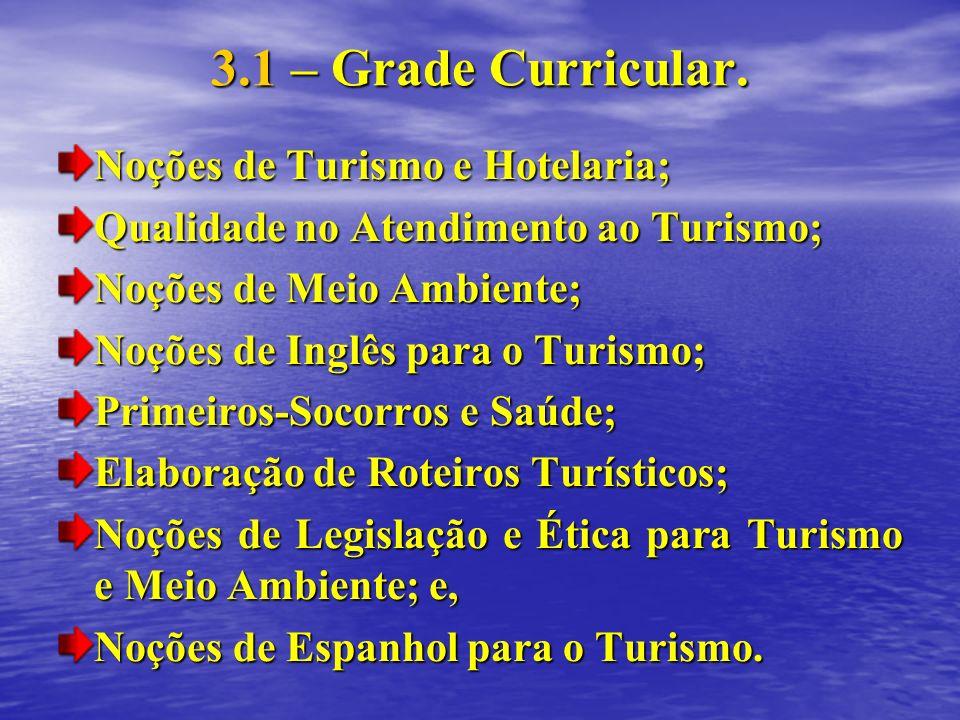 3.1 – Grade Curricular. Noções de Turismo e Hotelaria; Qualidade no Atendimento ao Turismo; Noções de Meio Ambiente; Noções de Inglês para o Turismo;