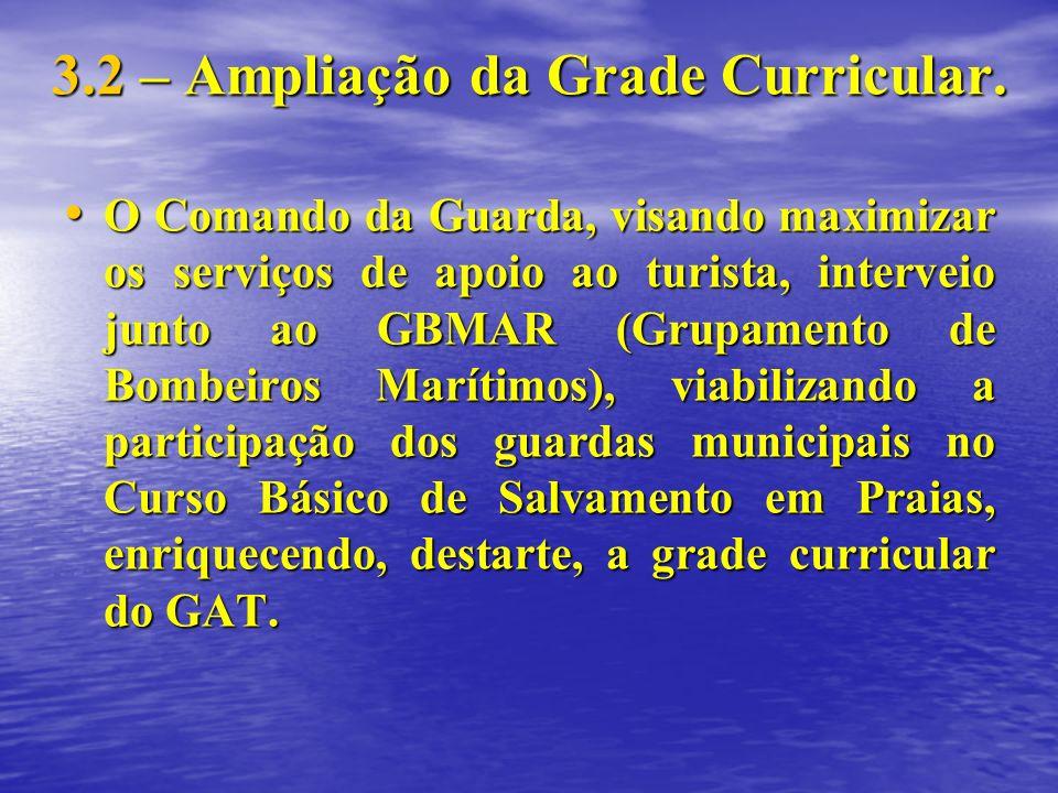 3.2 – Ampliação da Grade Curricular. O Comando da Guarda, visando maximizar os serviços de apoio ao turista, interveio junto ao GBMAR (Grupamento de B