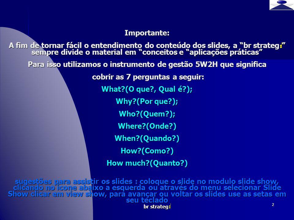 br strateg i 2 Importante: A fim de tornar fácil o entendimento do conteúdo dos slides, a br strateg i sempre divide o material em conceitos e aplicaç