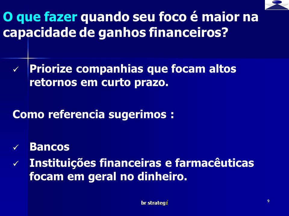 br strateg i 9 Priorize companhias que focam altos retornos em curto prazo. Como referencia sugerimos : Bancos Instituições financeiras e farmacêutica