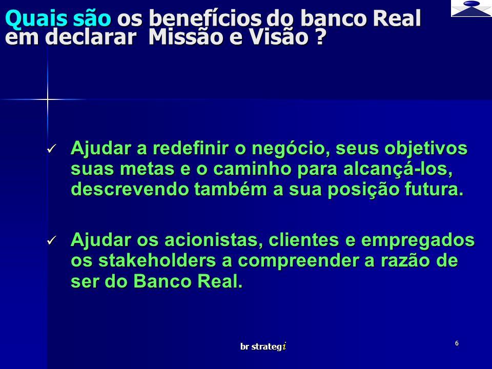 br strateg i 7 Como visualizar o Banco Real em termos de elementos organizacionais em um negócio.