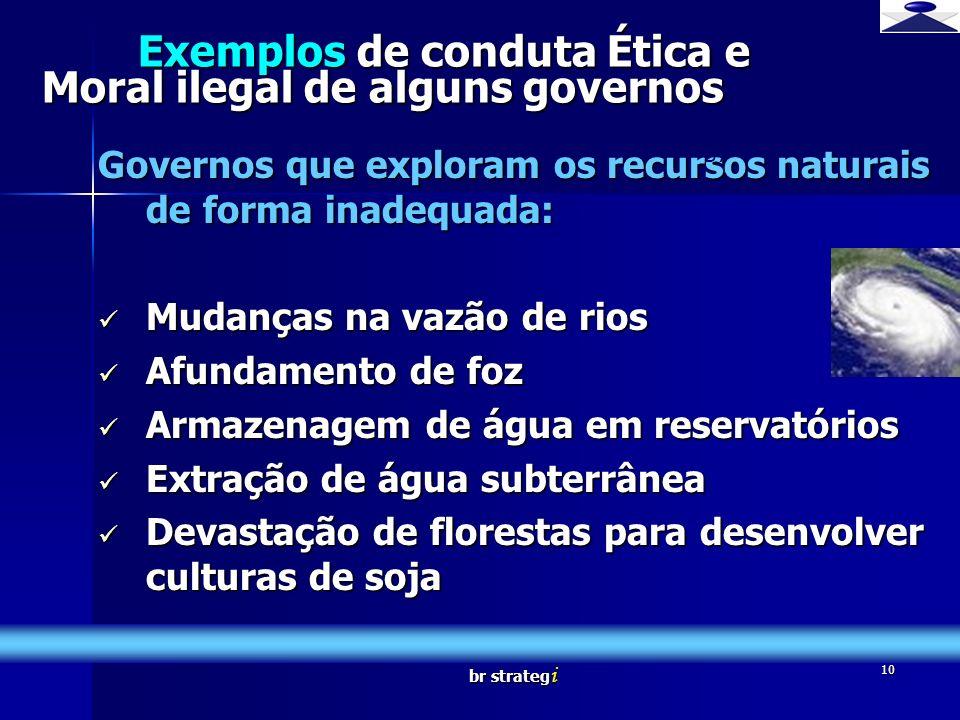 br strateg i 10 Exemplos de conduta Ética e Moral ilegal de alguns governos Governos que exploram os recursos naturais de forma inadequada: Mudanças n