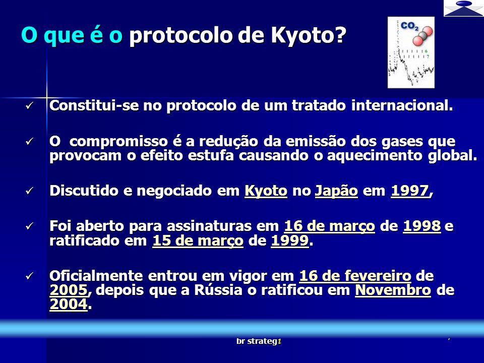 br strateg i 7 O que é o protocolo de Kyoto? Constitui-se no protocolo de um tratado internacional. Constitui-se no protocolo de um tratado internacio