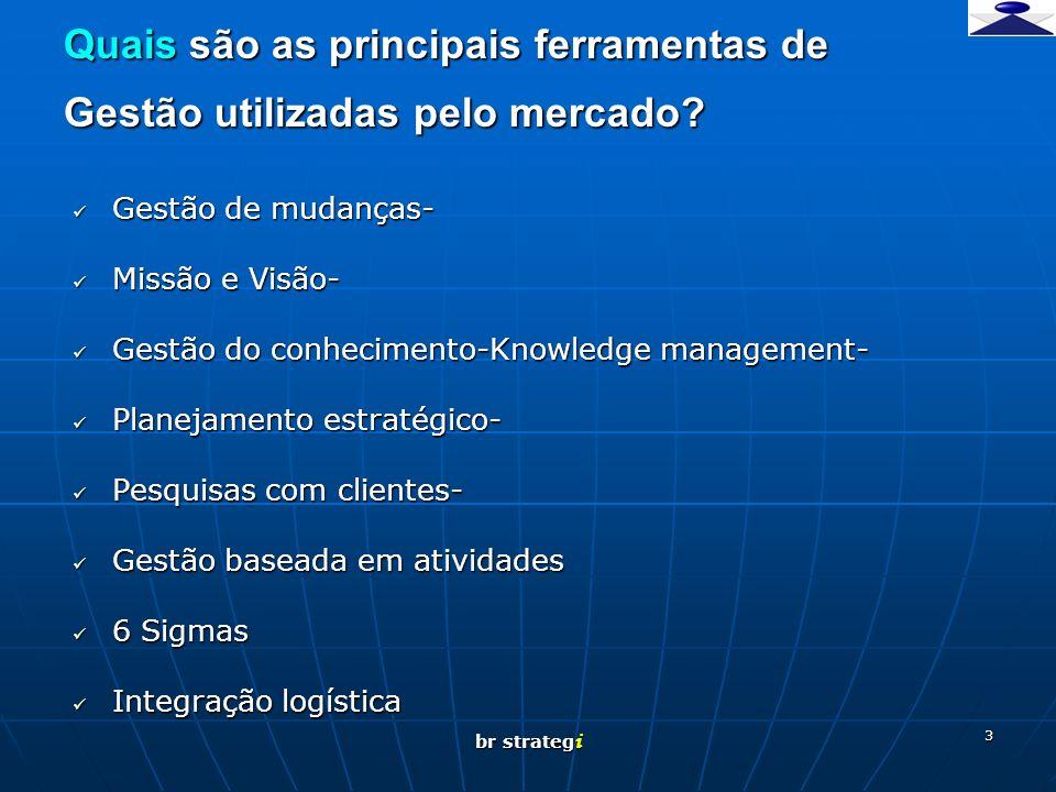 br strateg i 3 Quais são as principais ferramentas de Gestão utilizadas pelo mercado? Gestão de mudanças- Gestão de mudanças- Missão e Visão- Missão e
