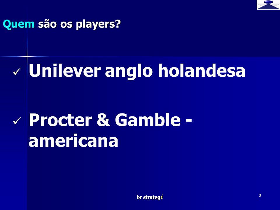 br strateg i 3 Unilever anglo holandesa Procter & Gamble - americana Quem são os players?